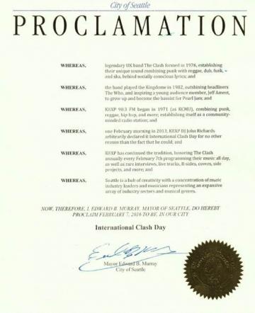 Objava kojom grad Seattle proglašava 7. veljače međunarodnim The Clash danom