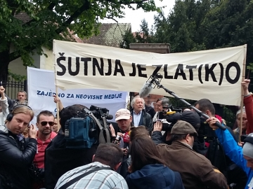 Prosvjed novinara pred ministarstvom kulture (Izvor: Hnd.hr)