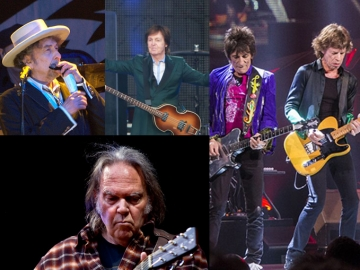 Paul McCartney, Bob Dylan, Rolling Stones i Neil Young (Izvor: Wikipedia/Ravno do dna)