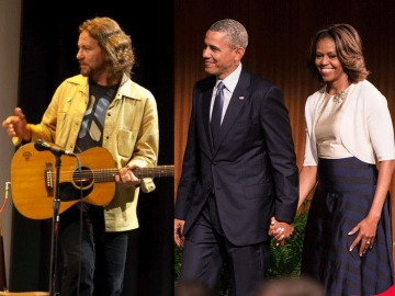 Eddie Vedder, Barack i Michelle Obama (Foto: Wikipedia)