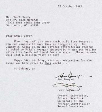 Pismo Carla Sagana upućeno Chucku Berryju 1986. godine