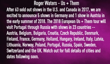 Najava Us+Them turneje 2018.