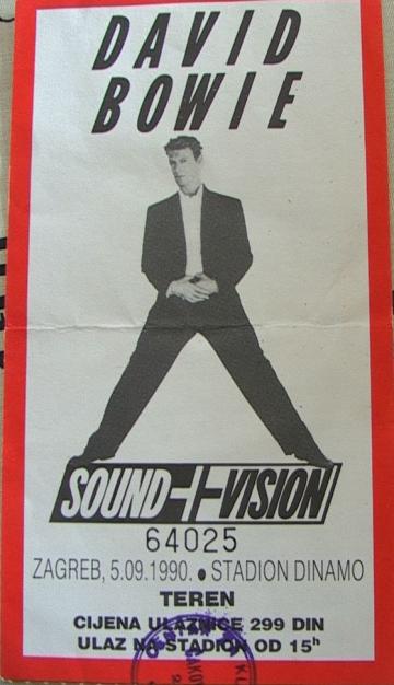 David Bowie - Sound + Vision 5. 9. 1990. Stadion Maksimir, Zagreb - ulaznica