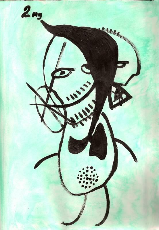 Bryan Lewis Saunders - autoportret, korištena droga: nikotinske žvakaće gume (2 mg nakon dva mjeseca nepušenja)