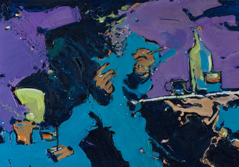 Bartender - ulje na drvu, 100x70 cm - Autor Danijel Drakulić, kontakt: dandrakul@gmail.com)