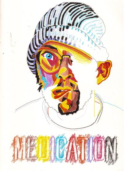 Bryan Lewis Saunders - autoportret, korištene droge: Ativan / Haloperidol (doza poznata bolnici)