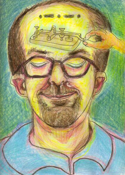 Bryan Lewis Saunders - autoportret, korištena droga: Butane Honey Oil (ulje hašiša ekstraktirano butanom, jaki koncentrat THC-a)