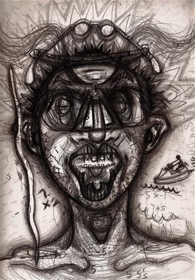 Bryan Lewis Saunders - autoportret, korištena droga: kokain (1/2 grama)