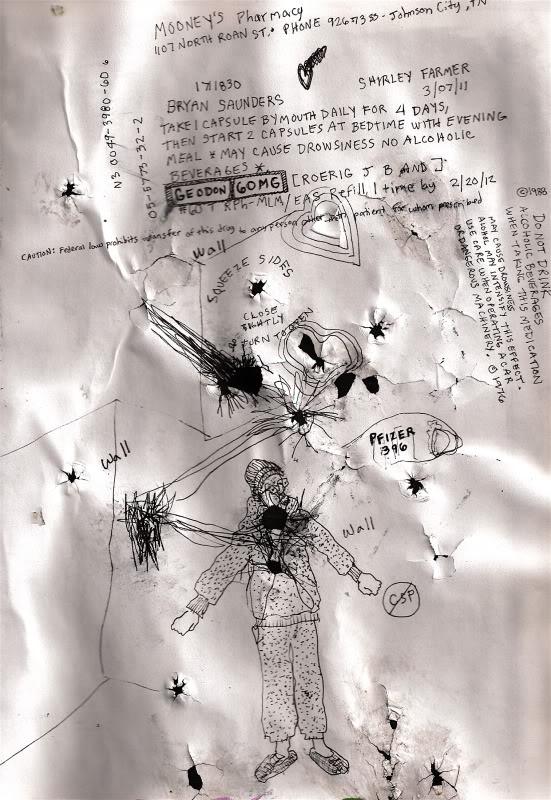 Bryan Lewis Saunders - autoportret, korištena droga: Geodon (Pfizerov antipsihotik 60 mg)