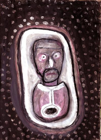 Bryan Lewis Saunders - autoportret, korištene droge: dušik suboksid i Valium (doza nepoznata)