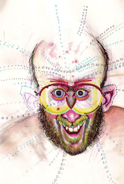 Bryan Lewis Saunders - autoportret, korištena droga: psilocibinske gljive (2 žlice odjednom)