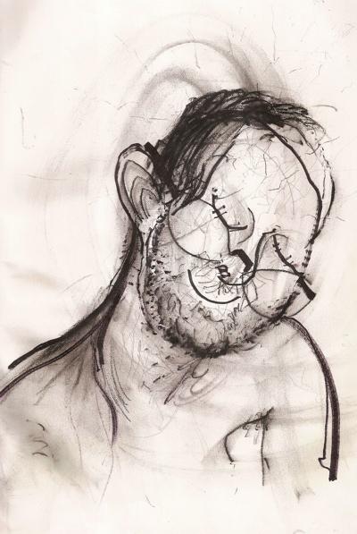 Bryan Lewis Saunders - autoportret, korištena droga: dušik suboksid (tzv. plin za smijanje, anestetik)