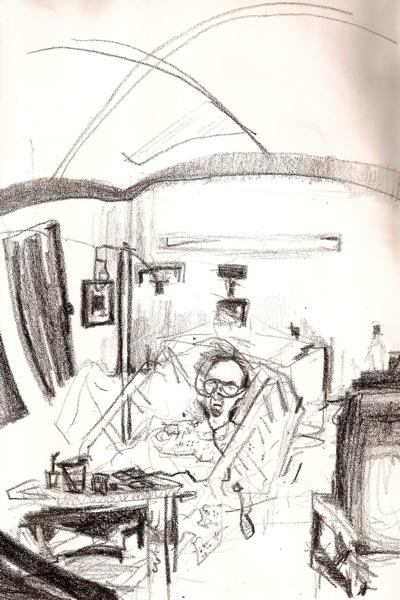 Bryan Lewis Saunders - autoportret, korištena droga: Valium I.V. (doza nepoznata, primljeno u bolnici)