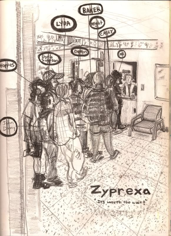 Bryan Lewis Saunders - autoportret, korištena droga: Zyprexa (10 mg, nakon dva tjedna u bolnici)