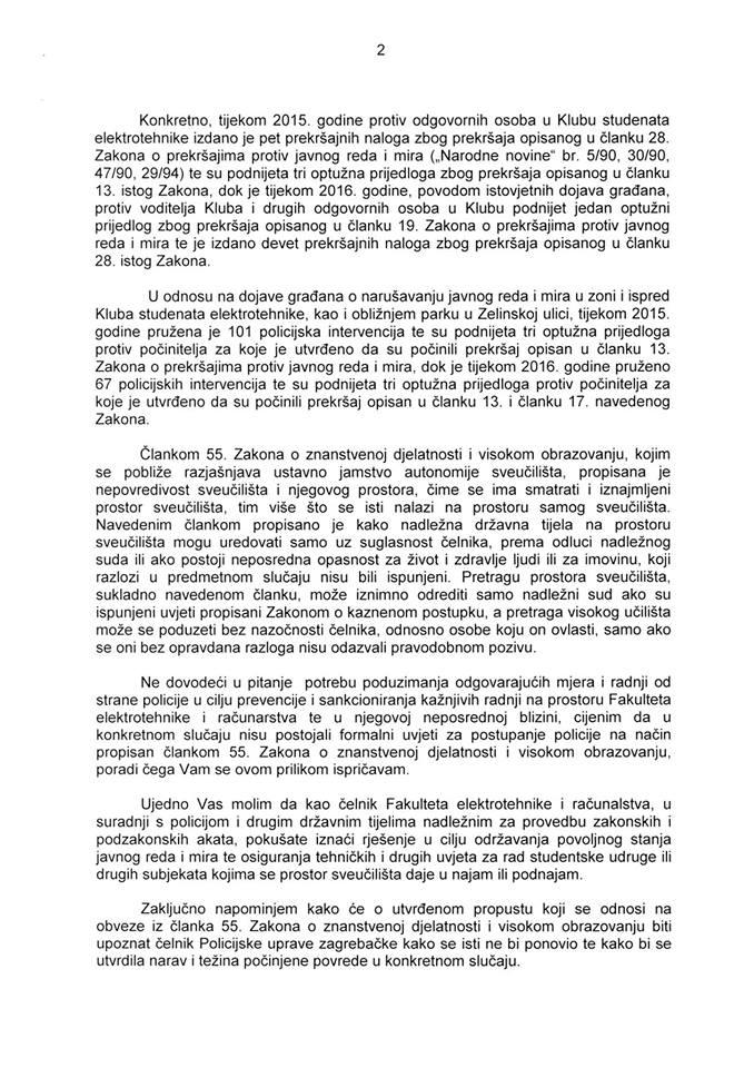 Ministrovo pismo isprike dekanu FER-a
