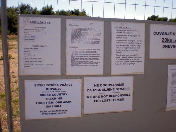 Obavijesti za kampere (Foto: Dražen Vujović)